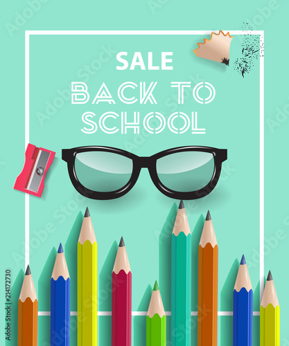Back to school lettering in frame with pencils Offer or sale
