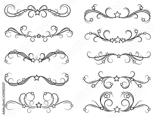 Dividers with stars Decorative design border elements for frames