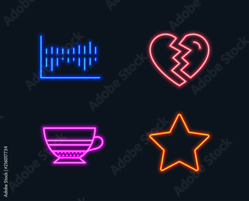 Neon lights Set of Break up, Mocha and Column diagram icons Star