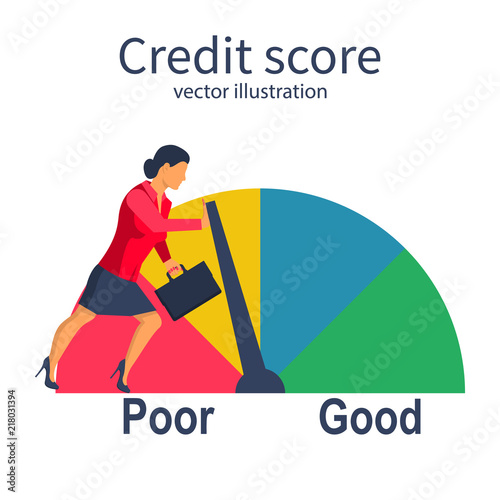 Credit score, gauge Businesswoman pushing speedometer scale