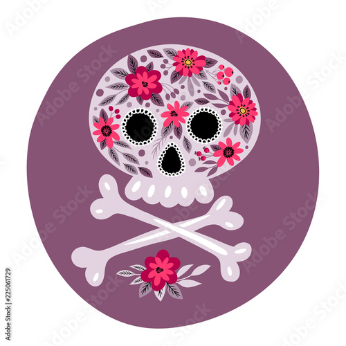 Template cards and invitations with a skull Mexican day of the dead