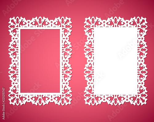 Laser cut paper lace frames, vector illustration Ornamental cutout