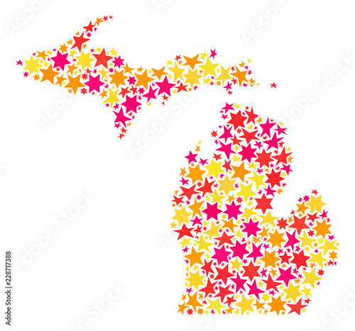 Map of Michigan State composed with colored flat stars Vector