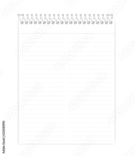 Wire bound lined note book letter paper format vector mock-up Buy