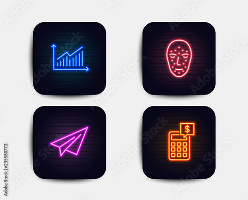 Neon glow lights Set of Face biometrics, Graph and Paper plane