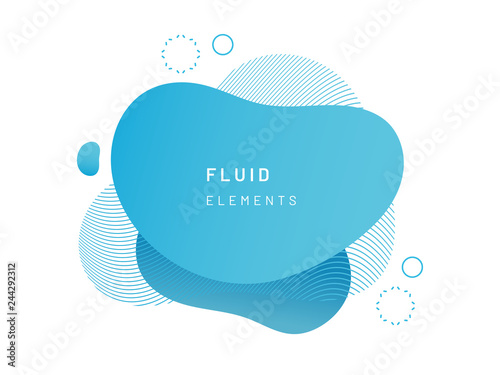 Blue fluid blob for card background Azure liquid stain in dynamic