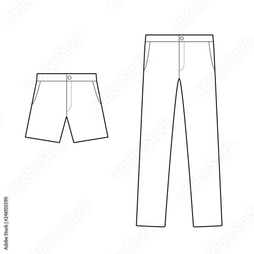 Pants fashion flat technical drawing template Buy Photos AP