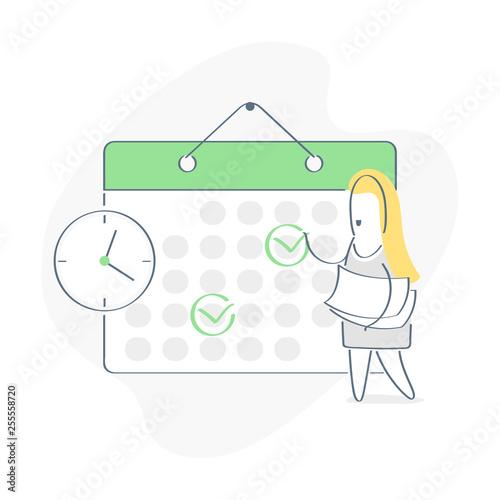 Cartoon Character Make an Online Schedule Business Graphics Tasks