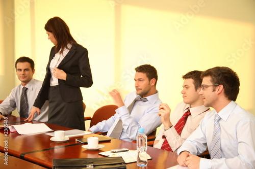 informal business meeting - woman boss speech\