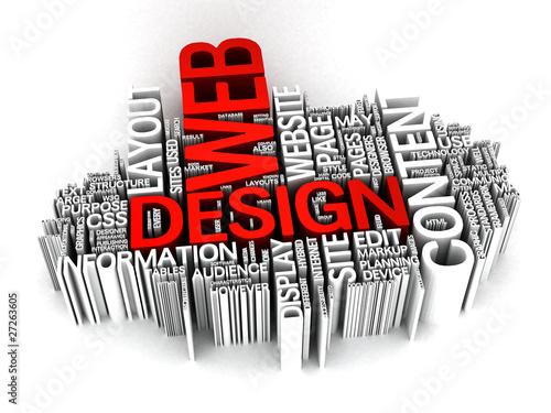 Web Design 3D word collage\