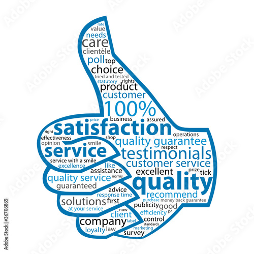 QUALITY- SERVICE-SATISFACTION Tag Cloud (thumbs up customer)\