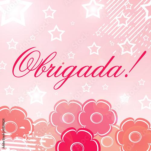 Cartão feminino de agradecimento com a palavra obrigada\