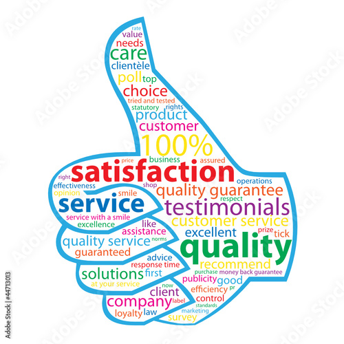 QUALITY- SERVICE-SATISFACTION Tag Cloud (customer thumbs up)\