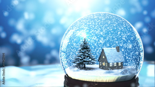 3d Colour Wallpaper Quot Christmas Snow Globe Snowflake With Snowfall On Blue