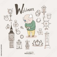 """Cute vector alphabet Profession. Letter W - Watchmaker ..."