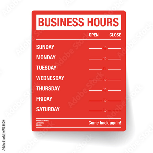 Business hours vector template\