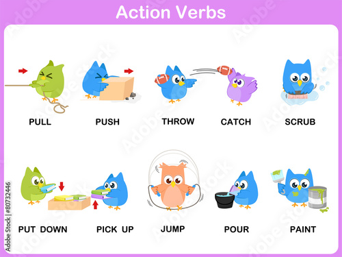 Action Verbs Picture Dictionary (Activity) for kids\