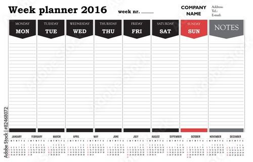 Quotweek Planner 2016 Calendar Templatequot Stock Image And