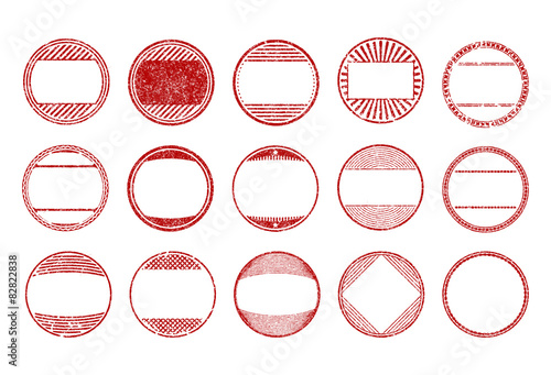 Set of 15 red, round, grunge, rubber stamps - templates Vector