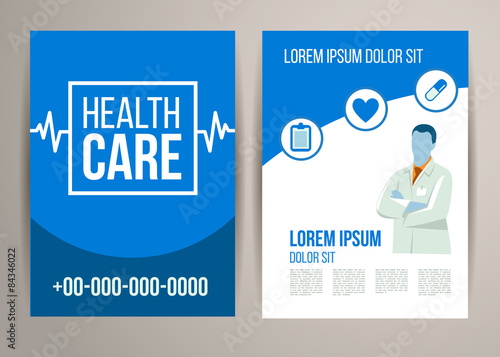 Healthcare brochure with doctor Flyer design medical concept for