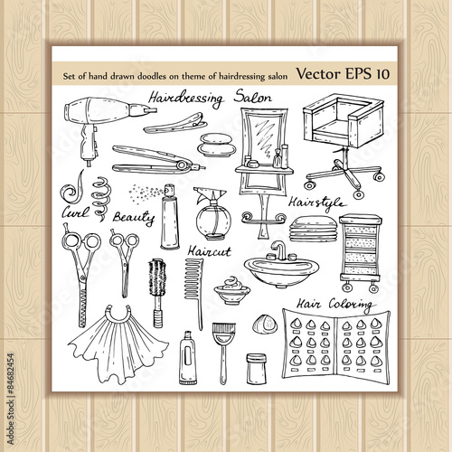 Vector set of hand drawn doodles on the theme of hairdressing salon - background sketches