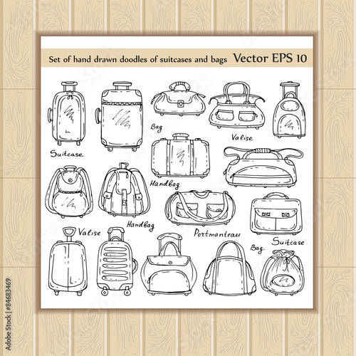 Vector set of hand drawn doodles of suitcases and bags on white - background sketches