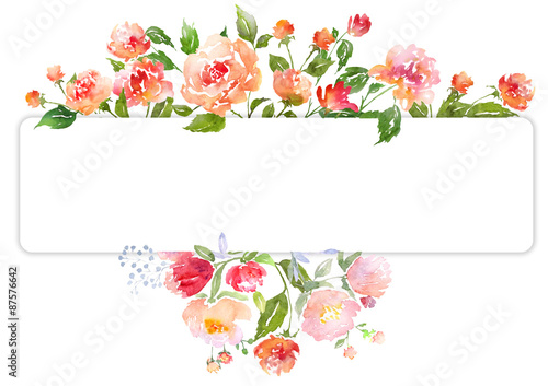 Orange Fall Peonies Wallpaper Quot Watercolor Floral Card Template Quot Stock Photo And Royalty