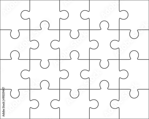 Jigsaw puzzle blank template 4x5, twenty pieces\ - blank puzzle template