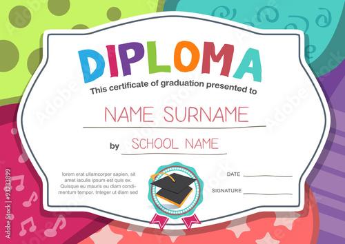 Preschool Kids Diploma certificate background design template\