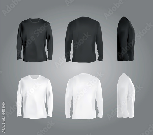 "Polo White Mockup ""long Sleeved T-shirt Templates Collection, Front, Back"