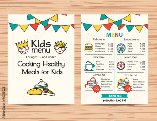 kids meal menu vector template ,Restaurant menu design\