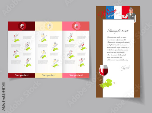 Vector art graphic illustration of wine list template\