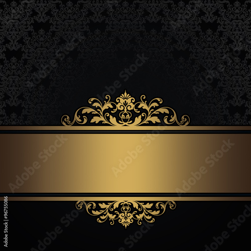 Black vintage background with gold border\ - black border background