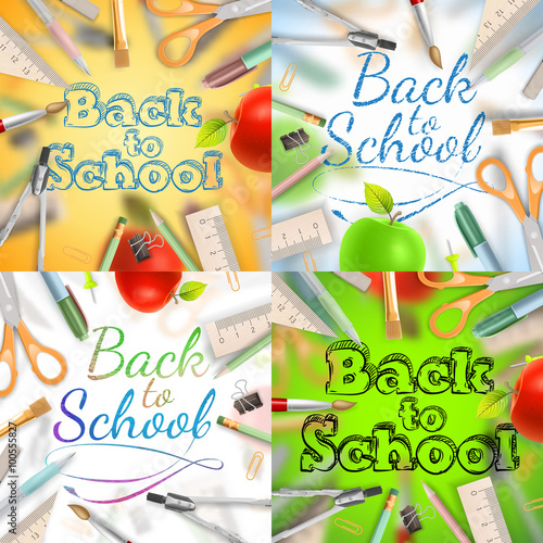 Set of Welcome back to school template EPS 10\ - welcome back template