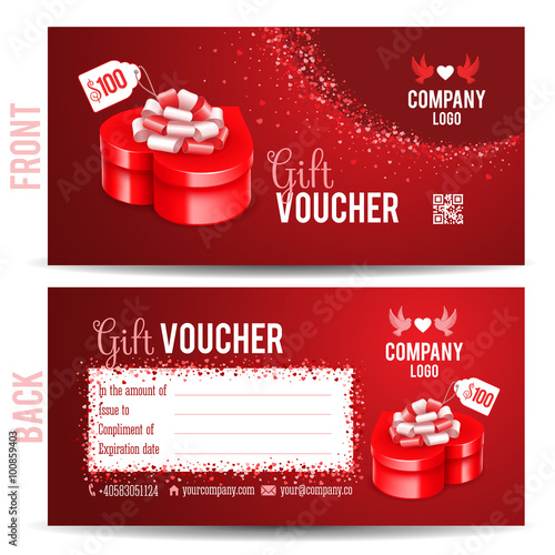 Gift voucher template with luxury red gift box in heart shape Front - prize voucher template