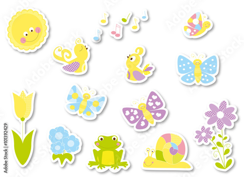 Stickers set of cute cartoon spring nature elements  butterflies