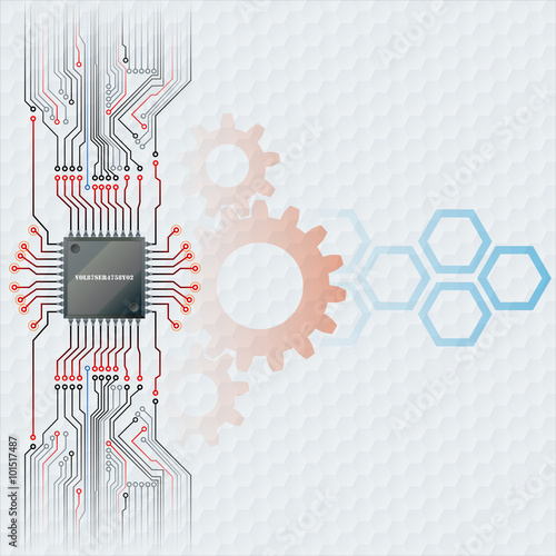 Abstract design technology background; Electronic Chip connected at