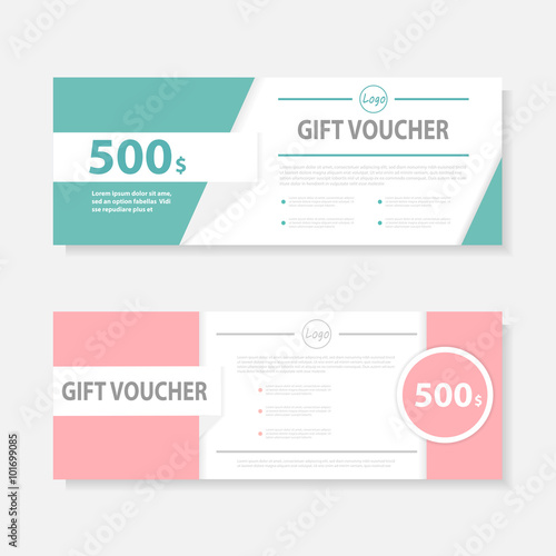 Pink green Gift voucher template with colorful pattern,cute gift