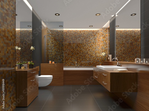 Modernes Badezimmer Mit Gold, Grau Und Warmen Fliesen   Badezimmer Gold