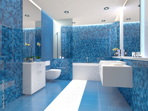 Quot Badezimmer Trend Blau Weiß Weiss Modern Quot Stock Photo And
