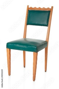 """""""Green old chair isolated on white, clipping path"""" Stock"""