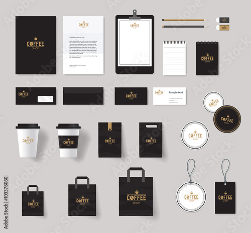 corporate branding identity mock up template for coffee shop and