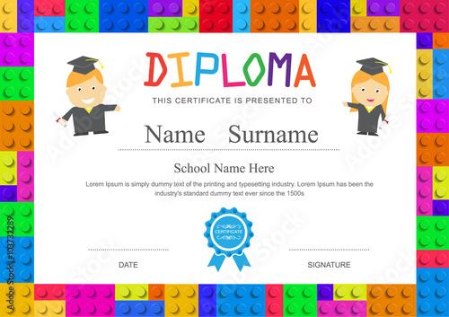 Kids diploma preschool elementary school design certificate back