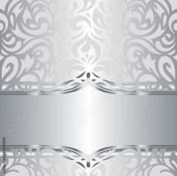 """Shiny silver floral decorative holiday vintage invitation ..."