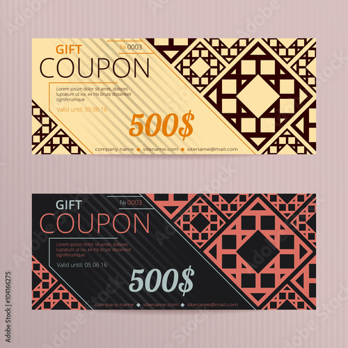 Gift voucher with elegant design Gift card template Coupon