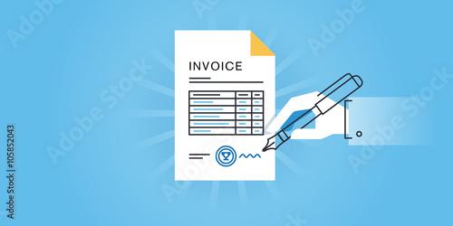 Flat line design website banner for an invoice, online invoice