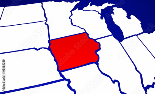 Iowa IA State United States of America 3d Animated State Map\