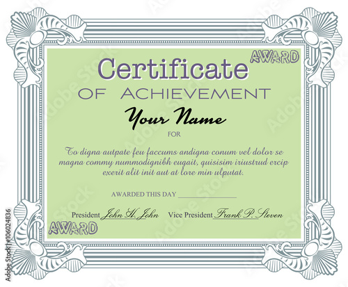 Isolated certificate with the text certificate of achievement