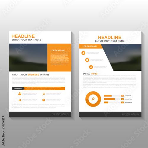 Orange Vector Leaflet Brochure Flyer business proposal template