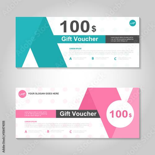 Pink and green gift voucher template layout design set, certificate - discount voucher design